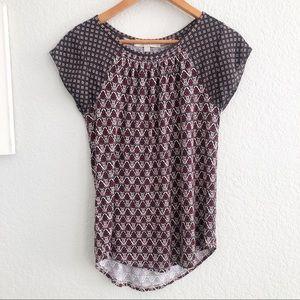 🔴 Loft Geometric Print Cap Sleeve Blouse XXS